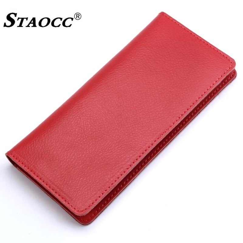 Long Wallet Genuine Leather Women Men Slim Thin Purse Simple Money Bag Cards Holder Purse Clutch Wallets Cowhide Carteira Mujer