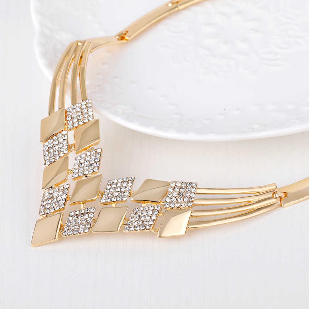 נשים חתונה KC מעוין צורת שרשרת עגילי Rhinestones המפלגה תכשיטי סט africain תלבושות תכשיטי אלגנטי זהב תכשיטים