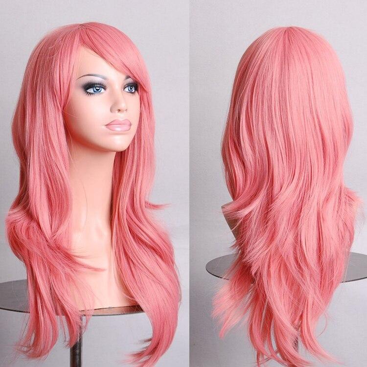 Baratos pelucas Cosplay pelucas mujeres 70 cm largo pelucas de la onda con flequillo  peluca de cabello Real más Color 12 especies pelucas realistas en de en ... 52e4c53f3952
