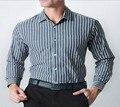 Марка мужская бизнес рубашки хлопок полосатый с длинными рукавами рубашки хлопка высокого качества способа мужские рубашки