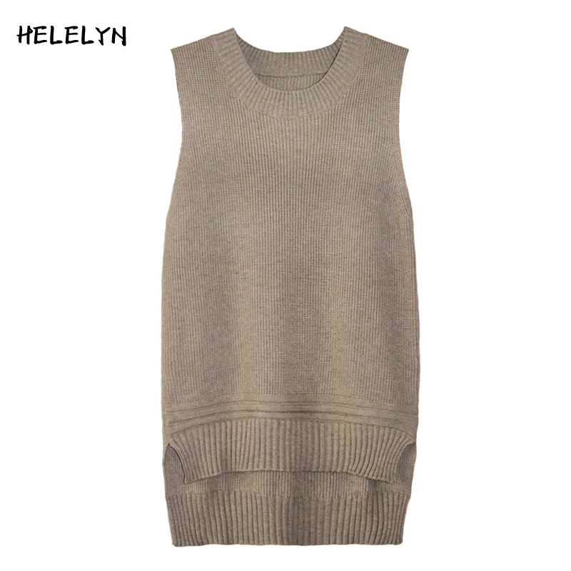 2017 New Autumn Winter Women Casual Knittted Vest Loose O-Neck Sleeveless Waistcoat Female Stretchable Long Jumper Sweater Veste ...