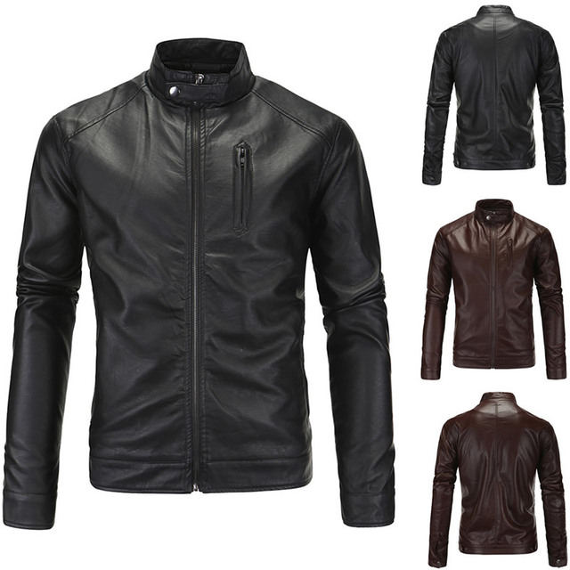 2017 Classic Style Motorcycling PU Leather Jackets Men Slim Male Motor Jacket Men's Clothes Chupas De Cuero Hombre OuterWear