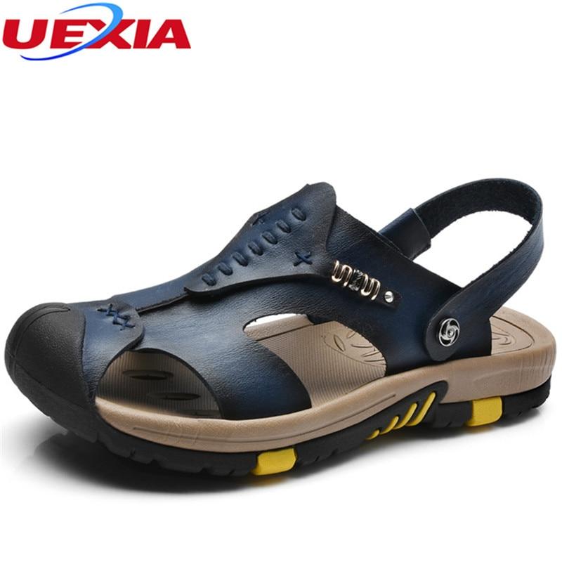 f83d34f30e3d6 UEXIA 2018 High Quality Anti Collision Toe Men Leather Sandals Shoes ...