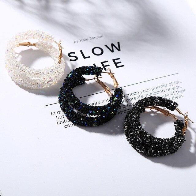 HOT Design Fashion Charm Austrian Crystal Hoop Earrings Geometric Round Shiny Rhinestone Big Earring Jewelry Women EF021