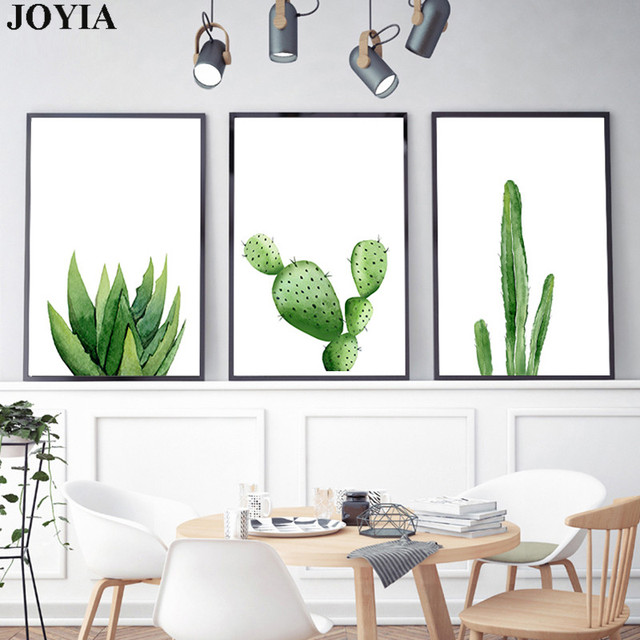 Green Cactus Wall Art Picture Home Decoration Modern Watercolor ...