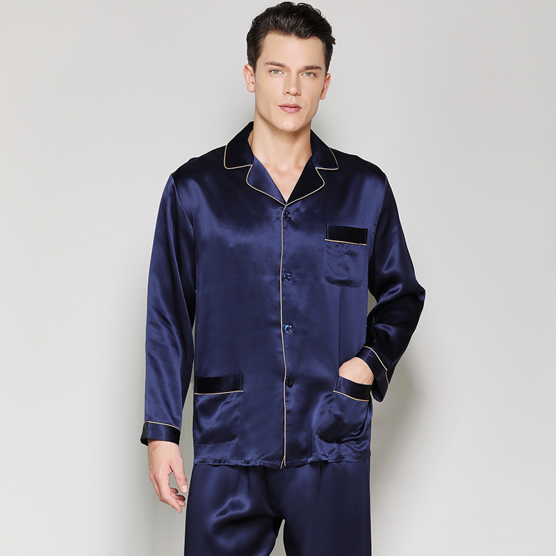 22 Momme 100 genuine silk pajamas sets for Male Long sleeve winter quality sexy homewear noble