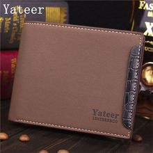 Yateer Fashion leisure Men Exposure Patent Wallet Famous Brand Short Soft Male Purse Letter Credit Card Dollar Bill Holders
