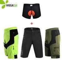 WOSAWE הגברים mtb רכיבה על אופניים עם מכנסיים קצרים אופני אופני 3D ג 'ל מרופד אור עמיד למים במורד מכנסיים קצרים מחזור רופף