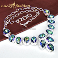New Arrive Classic fashionable colar femininas colorful mystic Synthetic topaz chain silver plated handmade necklace