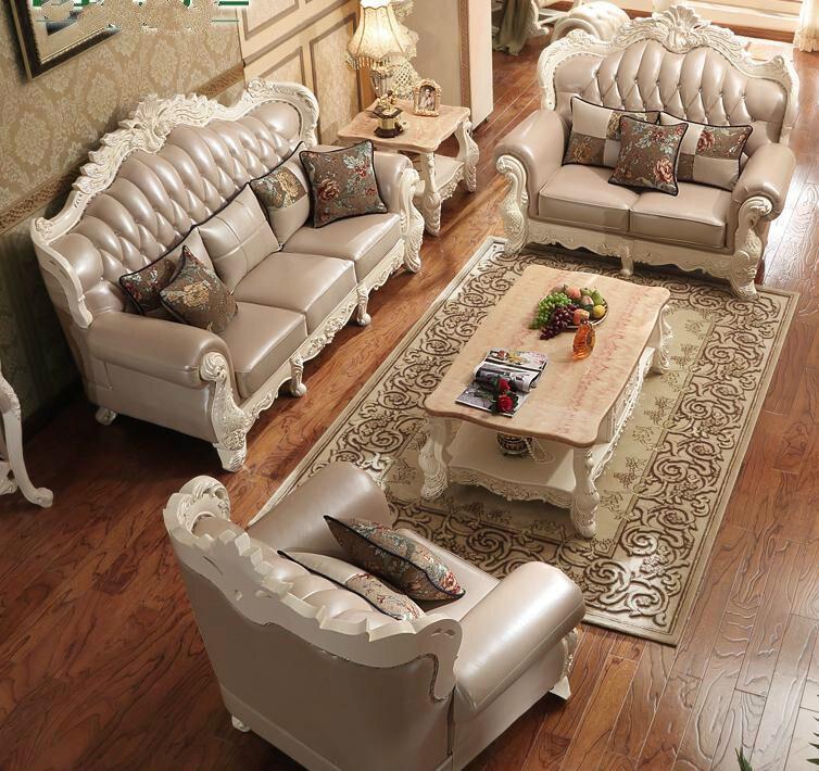 terrific european style living room furniture   Luxury European Style Genuine Leather Living Room Sofa ...