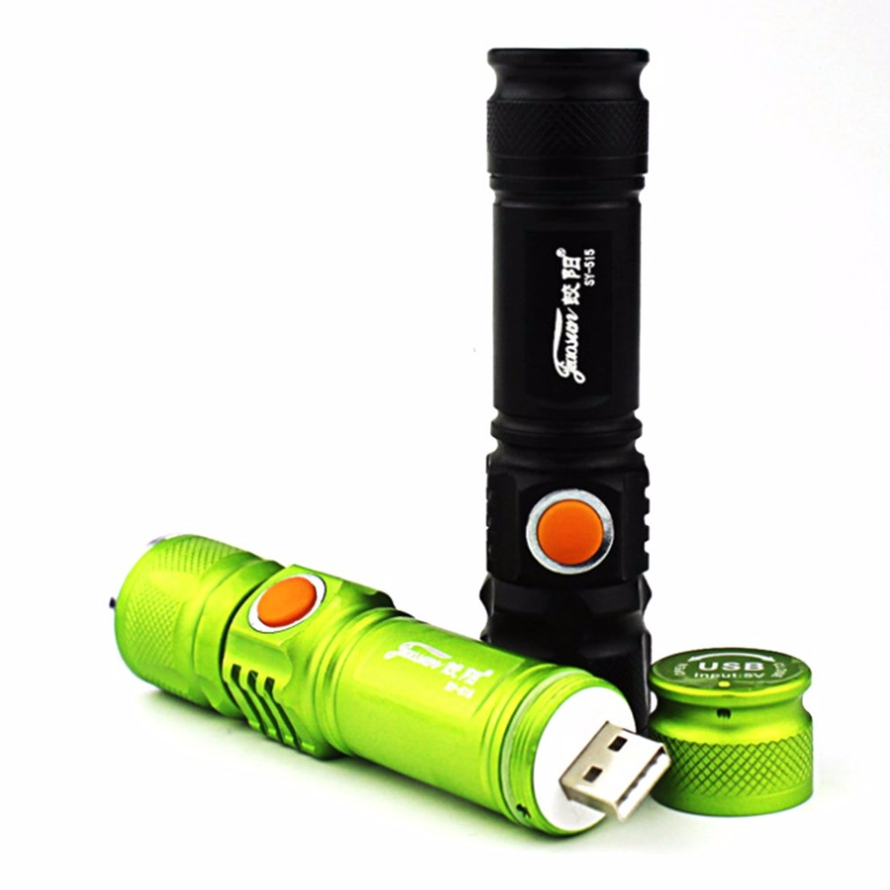 Portable Mini USB Rechargeable LED Flashlight Outdoor Camping 3 Mode Focus Adjustable Strong Light Torch Bicycle Headlight