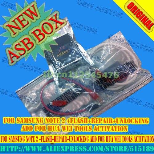 2017 Ultima AsanSam Box/ASB BOX con 2 pz cavi per Samsung NOTA 2 + flash + riparazione + sblocco aggiungere per Hua Wei Strumenti di Attivazione