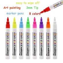Dust free Non Toxic Neon color 3mm Wet Erase Chalkboard Window Glass Pens