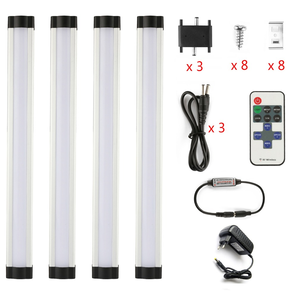DMXY EU/US wireless dimmable 30cm 4*3w Aluminum Kitchen Light 12W Slim lamps Hard Wired Led Linear Bathroom under Cabinet Light us 3 12