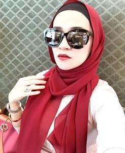 Image 2 - 1 Pc Hot Sale Bubble Chiffon Scarf Shawls Big Size 180*85cm Two Face Plain Solider Colors Hijab Muslim scarves/scarf 22 Colors