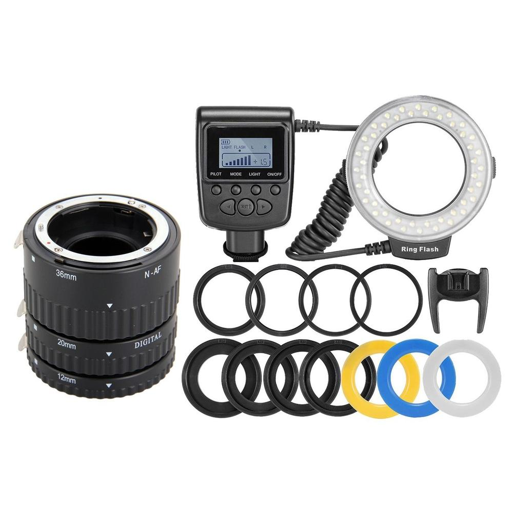 Meike Auto Focus AF Macro Extension Tube Ring Lens Adapter + RF550D 48 LED Ring Flash Light for Nikon Canon