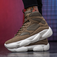 Man High Top Athletic Shoes Spring Autumn Mens Gym Trainers Shoes Beige Army Green Sneakers China Comfortable Running Shoes