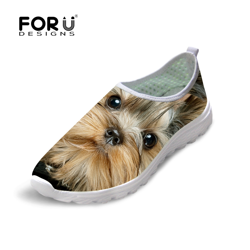 FORUDESIGNS Women Autumn Summer Mesh Shoes Slip-on Lightweight Breathable Casual Shoes 3D Animal Dog Cat Print Beach Flats Shoes forudesigns cartoon shark print women flats shoes sneakers casual women s summer mesh shoes beach girls loafers slip on zapatos