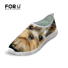 FORUDESIGNS Women Spring Summer Mesh Shoes Slip-on Lightweight Breathable Casual Shoes 3D Animal Dog Cat Print Beach Water Shoes