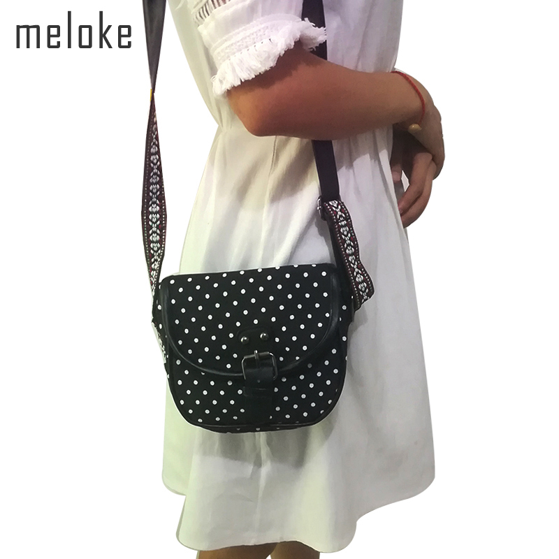 Meloke 2018 high quality printed dot canvas shoulder bags mini small phone bags for girls embroidery shoulder strap bag