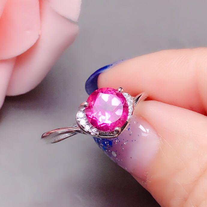 topaz ring Free shipping Natural Real Pink topaz Ring 925 sterling silver 7*7mm gemstone For men or women jewelry