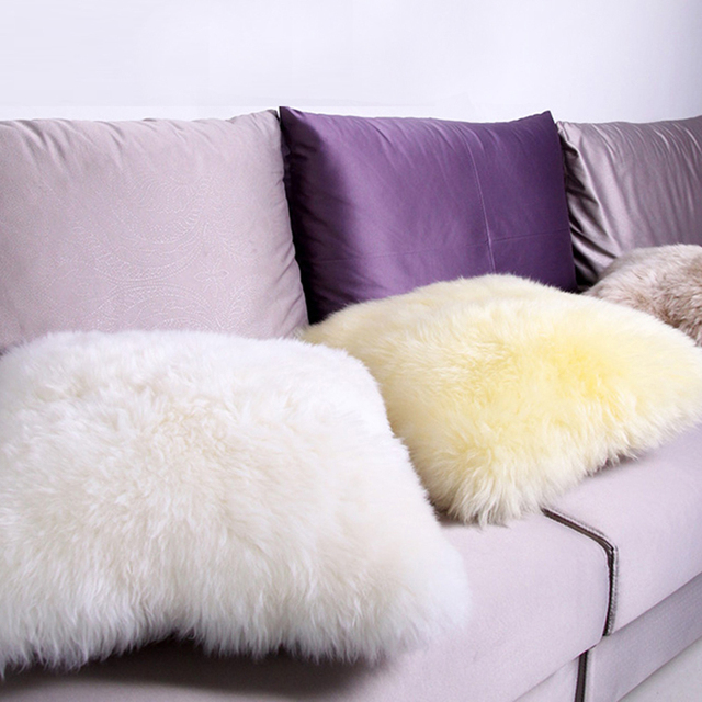 Sheepskin Wool Pillow Bed Sofa Cushion Fur Pad Car Back Insert