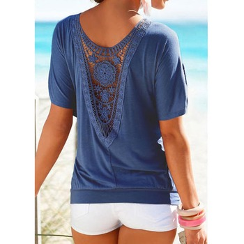 Lace Short Sleeve Blouse Casual solid Tops Shirt vetement femme blusa