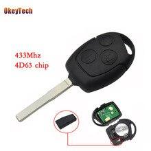 Дистанционный ключ OkeyTech с 3 кнопками, чип 433 МГц 4D63, БЕСКЛЮЧЕВОЙ вход без ключа HU101 для Ford Fusion Focus Fiesta, дистанционное управление
