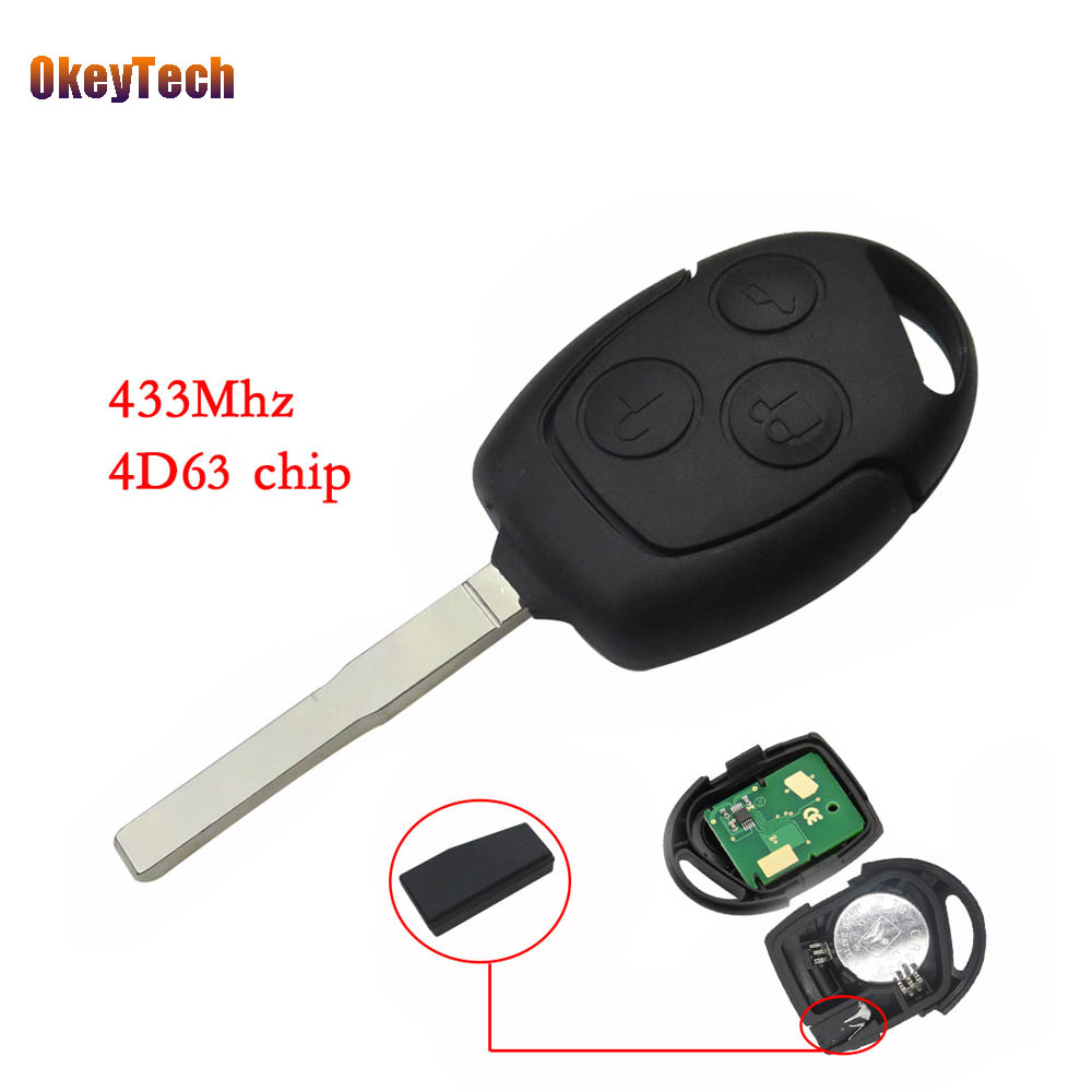 OkeyTech 3 Buttons Remote Key 433mhz 4D63 Chip Uncut HU101 Blade Keyless Entry Fob for Ford Fusion Focus Fiesta Remote Control