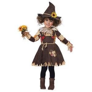Image 1 - Hội Pháp Sư Bí Ngô Dán Cường Lực Bù Nhìn Trang Phục Cosplay Cô Gái Trẻ Em Halloween Carnival Cosplay Đáng Kinh Ngạc Lạ Mắt Đầm Phù Hợp Với