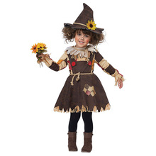The Wizard of OZ Pumpkin Patch Scarecrow Costume Cosplay Girl Kids Halloween Carnival Cosplay Party Amazing Fancy Dress Up Suit