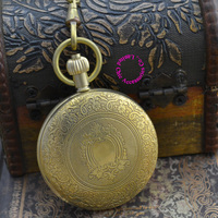 Wholesale Price Good Quality New Black Retro Vintage Classic Pattern Bronze Copper Brass Mechanical Pocket Watch