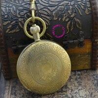wholesale mechanical pocket watch men new black retro vintage fob watches good quality classic pattern bronze copper brass