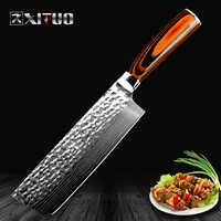 XITUO Chinese Chef Knife Japanese Damascus Laser Pattern Handmade Knife Kitchen Cut Meat Nakiri gyuto butcher knife Non-stick kn