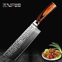 XITUO الصينية سكين الطاهي اليابانية دمشق الليزر نمط اليدوية سكين المطبخ قطع اللحوم ناكيري جيوتو سكين الجزار غير عصا kn|سكاكين مطبخ|المنزل والحديقة -