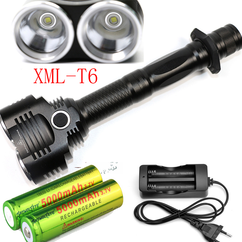 CREE XM-L 2x T6 6000Lumens cree led Torch cree LED 18650 Flashlight Torch light 4 Mode+AC Charger +2x battery
