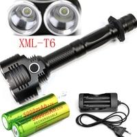 XM L 2x T6 6000Lumens cree led Torch cree LED 18650 Flashlight Torch light 4 Mode+AC Charger +2x battery
