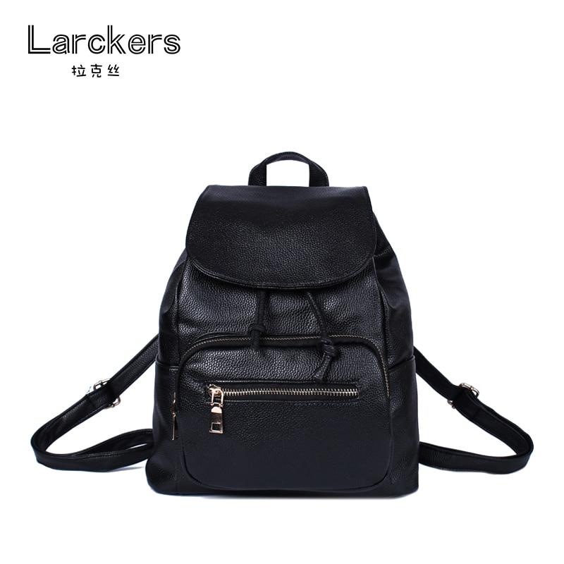 2017 spring solid black women PU backpack string cover women casual bag portable softback bag street