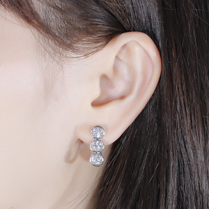 Image 5 - DovEggs Sterling Solid 925 Silver 4.5mm H Color Moissanite Stone Earrings for Women wiht 14K White Gold Pin