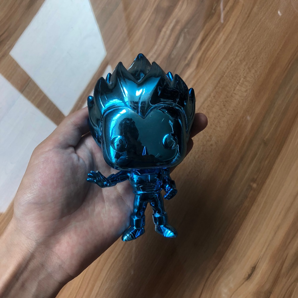 купить 2018 NYCC Exclusive Funko POP Amine Dragon Ball Z - Vegeta (Blue Chrome) Action Figure Collectible Model Loose Toy No Box по цене 3576.46 рублей