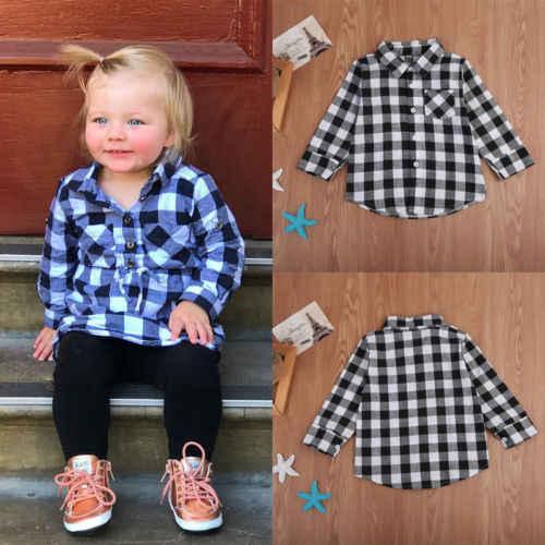 Camisa de manga larga para bebés y niños, blusas a cuadros, blusas, ropa informal