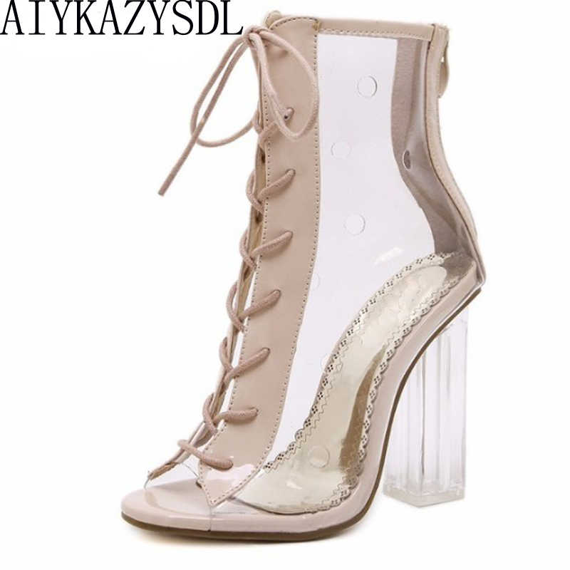 AIYKAZYSDL Women Summer Ankle Boots Peep Toe Bootie Clear Crystal Transparent Block Chunky High Heel Pumps High Top Shoes Woman