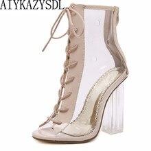 287c34f9 AIYKAZYSDL mujeres verano tobillo botas Peep Toe Bootie claro cristal  transparente bloque grueso tacón alto bombas Zapatos altos.