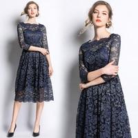 Spring new high end openwork lace dress elegant woman slim slimming dress