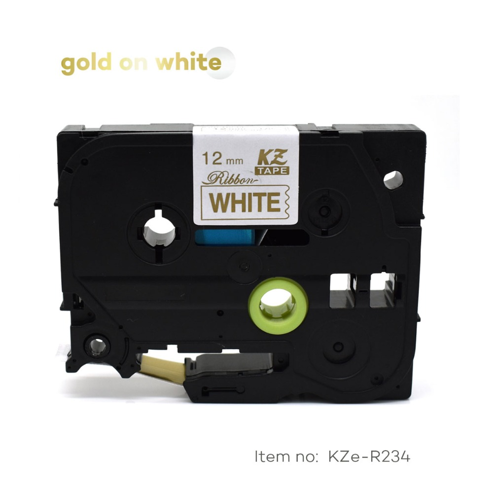 CIDY TZe-R234 For TZe Satin Ribbon Compatible Brother P Touch 12mm*4m Gold On White TZ-R234 Tze R234 TZ R234 Label Tape