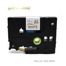 Этикетка CIDY для TZe атласная лента совместимый с Brother P Touch 12 мм золото на белом TZe-R234 TZ-R234 tze R234 TZ R234 запечатанных лент