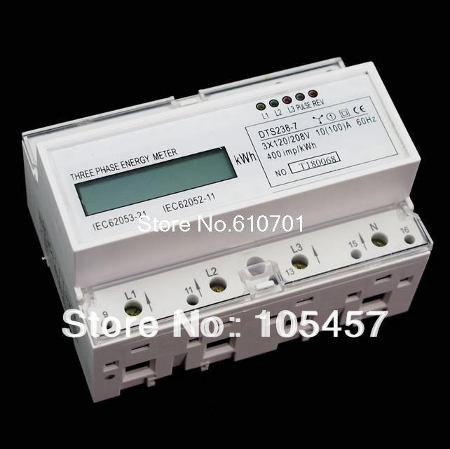 DIN Rail 120/208VAC 60Hz 3 Phase Watt-hour KWH Energy Meters цены