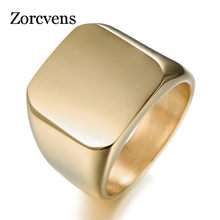 ZORCVENS New Fashion Jewelry High Polished Signet Solid Stainless Steel Ring Stainless Steel Biker Ring For Men(China)