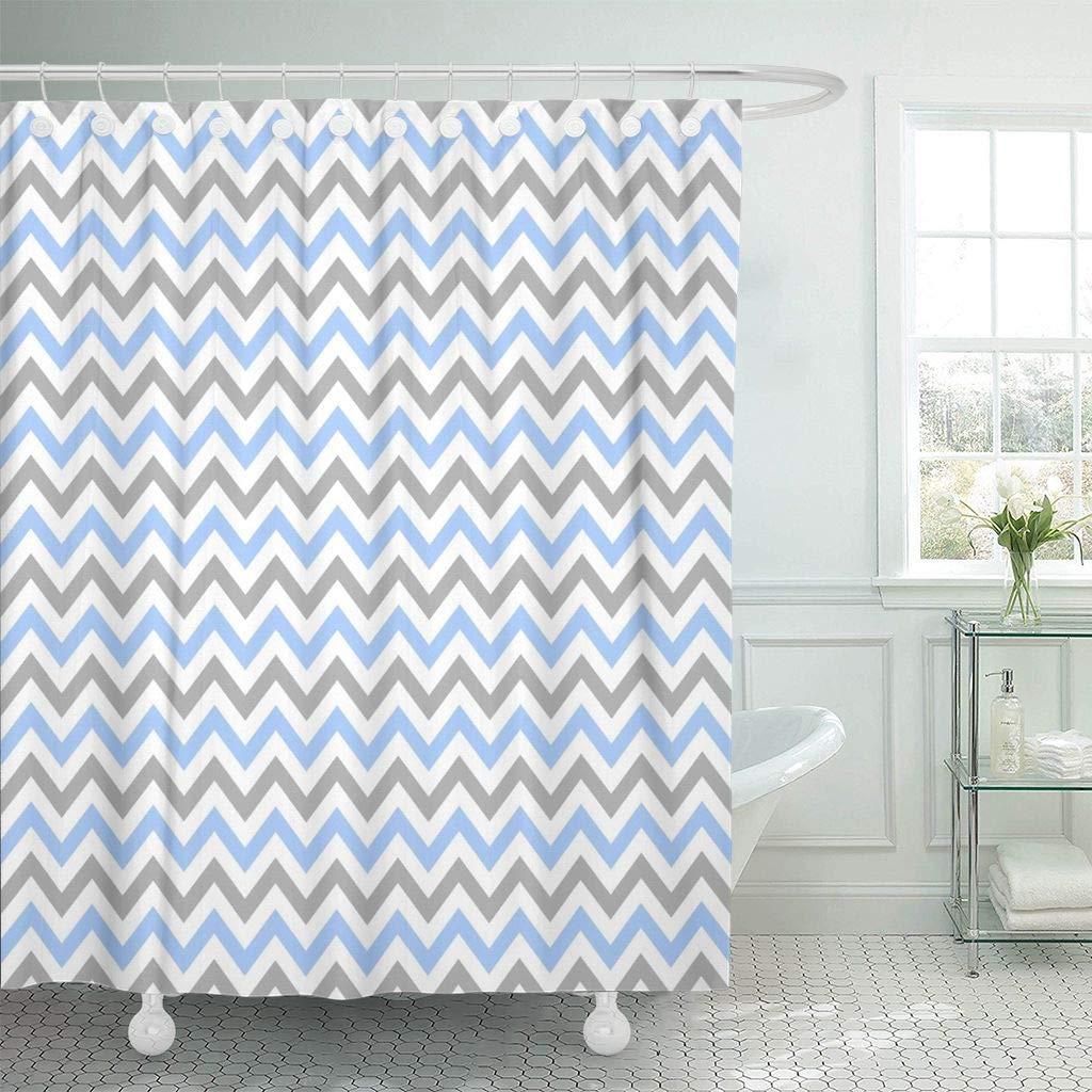 Duş Perdesi Kanca ile Donanma Doğum Günü için Mavi Gri Chevron Desen 300 Bebek Afiş Erkek Renk DPI Geometrik Dekoratif Banyo