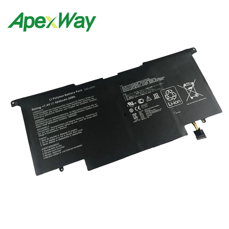 ApexWay 50Wh Laptop Battery for Asus C23-UX31 ZenBook UX31A UX31E C22-UX31 C21-UX31 Ultrabook SeriesApexWay 50Wh Laptop Battery for Asus C23-UX31 ZenBook UX31A UX31E C22-UX31 C21-UX31 Ultrabook Series